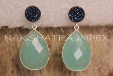 Blue Coated Druzy Round & Aqua Quartz Pear Briolette Sterling Post Earrings