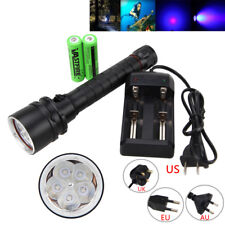 UV 390nm 5x XPE LED Underwater 100M Scuba Diving Flashlight Torch+18650+Charger
