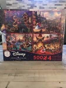 Disney Thomas Kinkade Puzzle 4 Pk 500  Tangled, Sleeping Beauty Mickey Peter Pan
