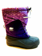SOREL Kids Insulated Waterproof Nylon Snow Boots Size 4 USA.