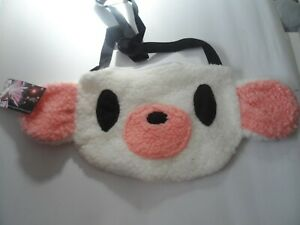 pink white sherpa fleece teddy panda shoulder bag  with zip clubwear
