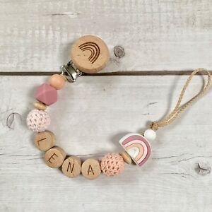 Schnullerkette Nuckelkette mit Namen Mädchen rosa holz Silikon Regenbogen