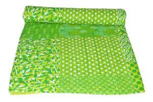 Indian Beautiful Indigo Print Bedding Bedspread Cotton Ethnic Kantha Queen Quilt