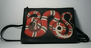 AUTH GUCCI SNAKE PRINT GRAPHIC LEATHER RED WHITE BLACK SHOULDER BAG ZIP TOP