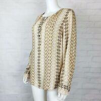 Karen Kane Size Large Womens Boho Blouse Top Long Sleeve Brown White Popover