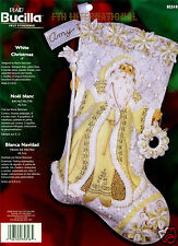 "Bucilla White Christmas ~ 18"" Felt Stocking Kit #85318 Santa, Gold & Cream, 2006"