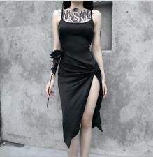 Women's Punk Gothic Spaghetti Strap Slit Draped Slim Fit Package Hip Dress YBWL