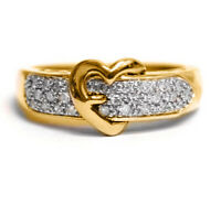 0.30CT Birlliant Diamond 14K Yellow Gold Finish Heart Belt Cluster Promise Ring