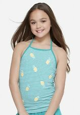 NWT JUSTICE Girls 8 10 Green and White Sparkle Pineapple Print Halter Top🍍