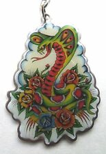 "Ed Hardy ""Villian"" Metal Modern Key Chain, NEW, Individually Packaged and Sealed"