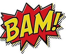 COMIC SUPER HERO SUPERHERO BAM SYMBOL IRON ON T SHIRT TRANSFER