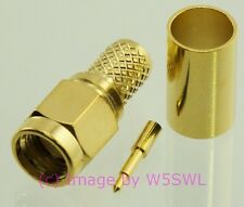 SMA Male Crimp Connector Gold RG-8X LMR2402 2-PACK - by W5SWL ®
