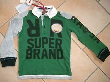 (C237) RARE -The Kid Boys 2in 1 Optik Polo Shirt + Aufnähern & Logo Druck gr.104
