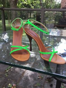 Dolce&Gabbana Green Sandals Leather Solid Strappy Shoes Sz EU 38.5/8.5