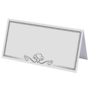 White Place Name Cards Wedding Table Setting Silver Heart 1/25/50/75/100/200