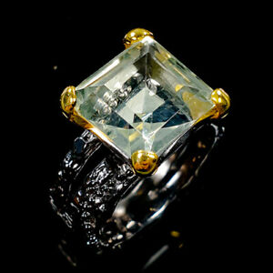 Vintage10ct+ Natural Green Amethyst 925 Sterling Silver Ring ~ UK Q US 8