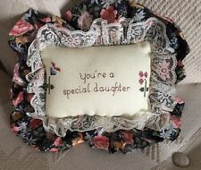 New listing embroidered pillow vintage hanging lace linen daughter Handmade