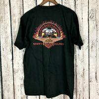 Harley Davidson Motor Cycles Berwyn Illinois Men's T-Shirt Black Size: Large