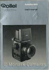 Rollei 6002 Camera Instruction Manual, More Rolleiflex User Guide Books Listed