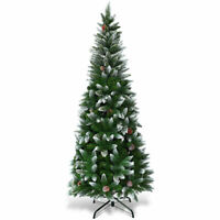 5ft Snow Decor Unlit Artificial Pencil Christmas Tree Hinged w/ Pine Cones