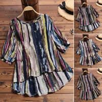ZANZEA 8-24 Women Plus Size Stripe Top Tee T Shirt Printed High Low Tunic Blouse