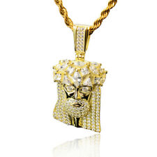 Mens 925 Sterling Silver 14K GOLD 3.7ct Diamond Jesus Pendant 2MM ROPE CHAIN