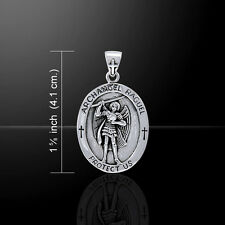 Archangel Raguel Medallion Angel Sterling Silver Pendant by Peter Stone