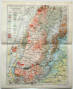 Black Forest, Germany - Original 1908 Geological Map by Meyers. Schwarzwald