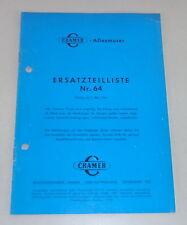 Teilekatalog Cramer Allesmuser Modell A / B / E von 05/1967