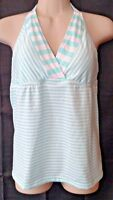 Green White Stripe Halter Tankini Top swim bathing suit swimwear Mossimo Medium