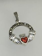GARNET HEART & MARCASITE 925 STERLING SILVER Lovely IRISH CLADDAGH CHARM PENDANT