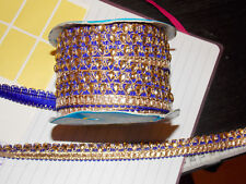 Royal Blue Gold Gem Trim Braid Gâteau Décoration Danse Mariage Ruban Strass