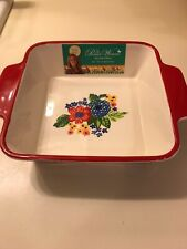 """New listing Pioneer Woman Square Baker Dazzling Dahlia 8"""" Baking Dish Red Floral Brand New"""