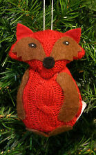 FELT & YARN RED & BROWN FOX CHRISTMAS TREE ORNAMENT