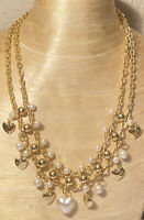 Vtg Puffy Pearl Heart Gold Necklace Runway French Couture Collar