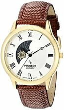 Peugeot Mens 14K Gold Plated Decorative Sun Moon Phase Roman Numeral Brown