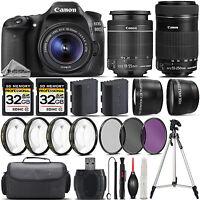 Canon EOS 80D DSLR Camera + 18-55mm STM Lens + 55-250mm STM Lens - 4PC Macro Kit