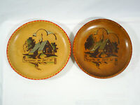 Wood Plate Decorated German Wall Hanging Set Of 2 Vintage Farmhouse Chic