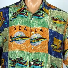 Burma Bibas Silk Mens L Sea Land Air Seaplane Speedboat Scooter Roadster