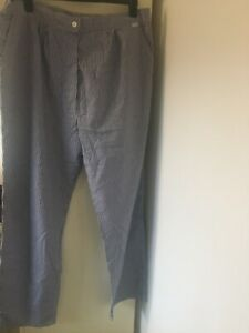 Ladies Size 24 Catering  Blue Checked Trousers
