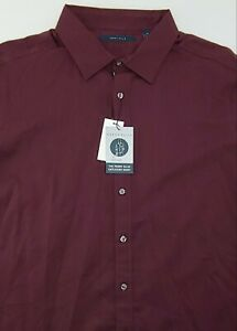 Perry Ellis The Untucked Shirt Long Sleeve Woven Shirt Fig Wine 2X $89.50 Mens
