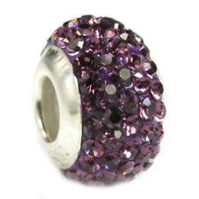 .925 Sterling Silver BIRTHSTONE ROUND Bling Bead f/ European Charm Bracelet