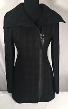 Mackage Black Plaid Wool Aura Leather Details Long Coat NWOT Sz S/P