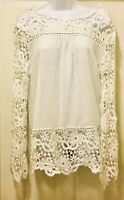 Womens Ladies Long Sleeve Hollow Out Flower Lace Chiffon Blouse Tunic Top XL NEW