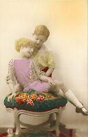 Boy & Girl RPPC Real Photo Postcard Hand Colored Fashion Antique Art Deco