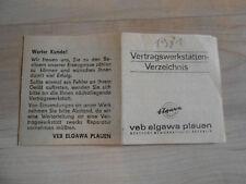 Elgawa Vertragswerkstätten-Verzeichnis 1981