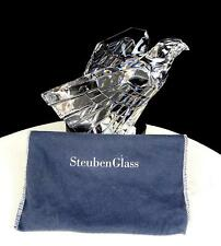 "STEUBEN GLASS #8304 CRYSTAL DONALD POLLARD EAGLE LARGE 5 1/2"" PAPERWEIGHT 1975"