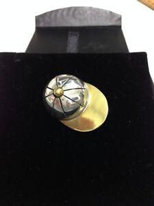 Brooch Silver 925 & Brass Jewellery Beautiful Equestrian Jockey Cap Ladies Gift