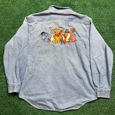Vintage Disney Winnie The Pooh Shirt Denim Long Sleeve Embroidered Size Medium