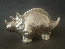 Triceratops Dinosaur Money Box Silver Plated